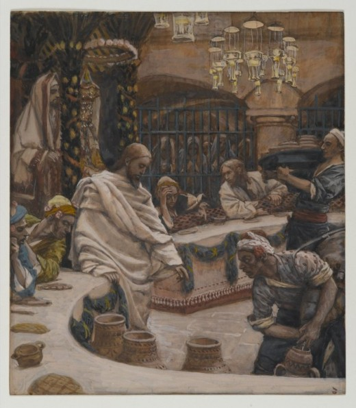 Artist	 James Tissot (1836–1902)  Title	 Français : Les Noces de Cana English: The Marriage at Cana    Date	between 1886 and 1894
