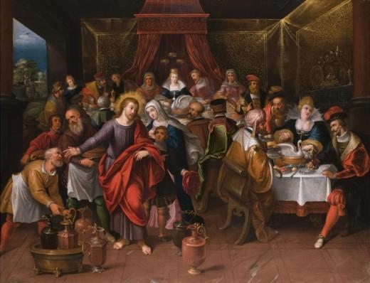 Author Cornelis de Baellieur (1607–1671)   Description Marriage at Cana Date17th century Mediumoil on panel Dimensions51 x 67 cm Source/Photographerhampel-auctions.com