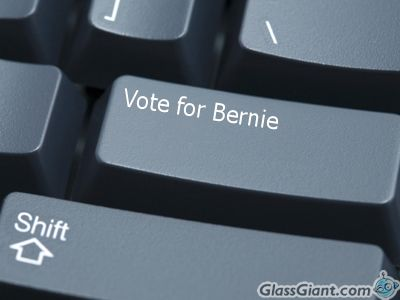 "Keyboard with a ""Vote for Bernie"" key. Graphic created by me using the Glass Giant site."