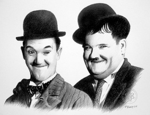 Stan Laurel 1890-1965 and Oliver Hardy 1892-1957