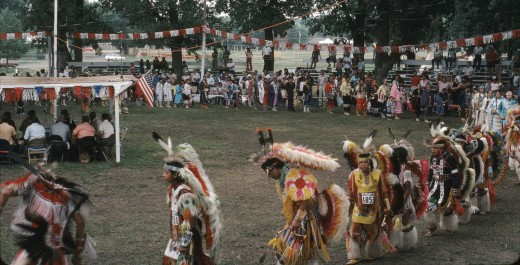 Grand Entry at Omaha PowWow, 1983