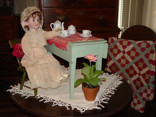 Tea party with doll.