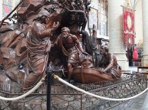 Pulpit in St Andrews' Church in Antwerp by Jan-Baptist van Hool and Jan-Frans van Geel.  Photo by Ad Meskens at Wikimedia Commons.