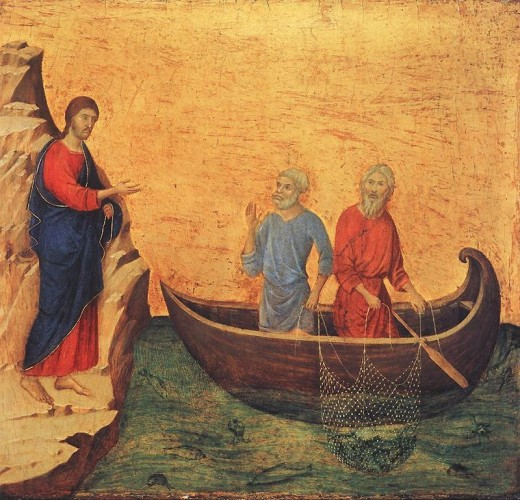 Artist	 Duccio (1260–1318)  Title	 English: Calling of Peter and Andrew Date	between 1308 and 1311 Medium	tempera on wood