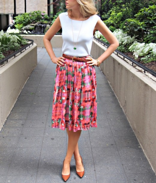 White blouse and colorful skirt