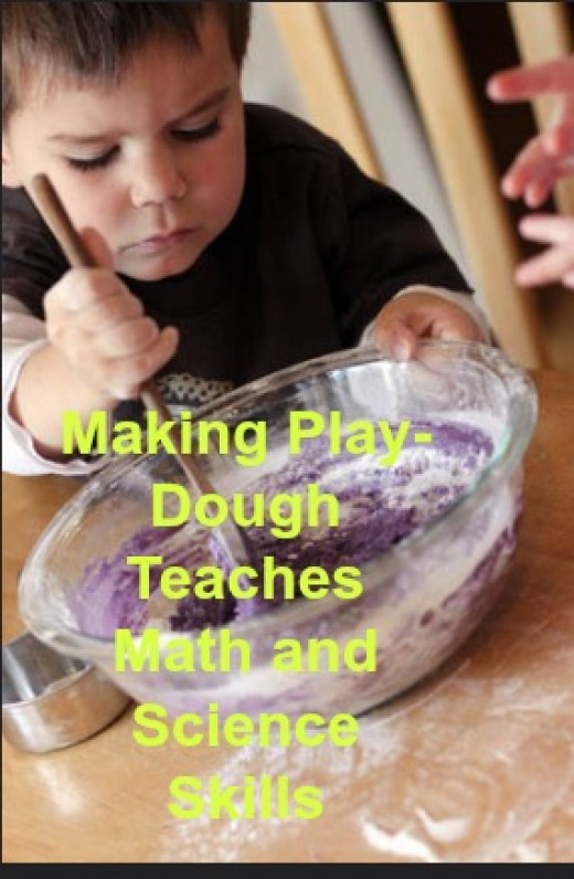While making play-dough, your child learns how to measure ingredients, work with fractions, and mix colors.