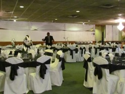 The room was decorated in black and white for the occasion.