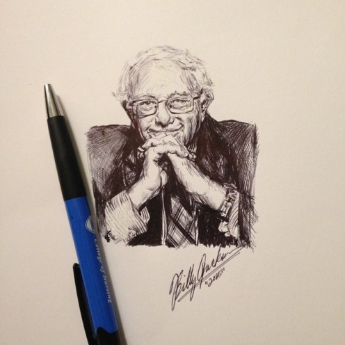 Artist Billy Jackson drew this wonderful portrait of Senator Bernie Sanders in a thoughtful pose. The artist shared it in the Bernie Believers Facebook group, encouraging everyone to show it off around the Internet.