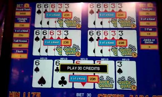 Dealt Quick Quad on a Video Poker Machine