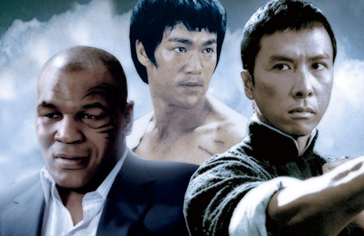 Left To Right: Mike Tyson as gang leader Frank, the real Bruce Lee and Donnie Yen as Ip Man