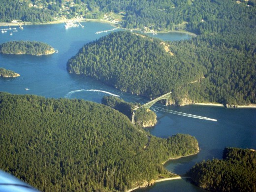 Deception Pass Bridge over the  Strait of Juan de Fuca.