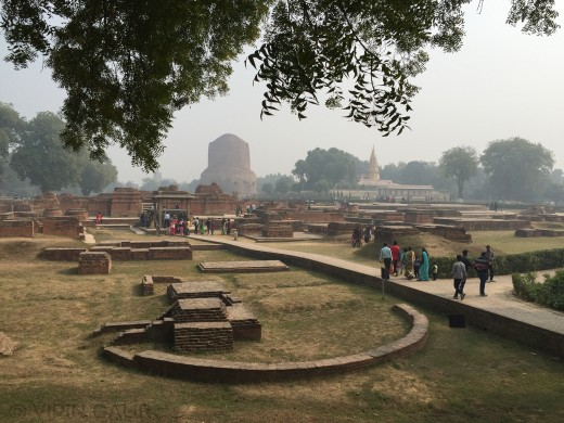 The archaeological site. Dhamekh Stupa and Sridigambar Temple are visible in background