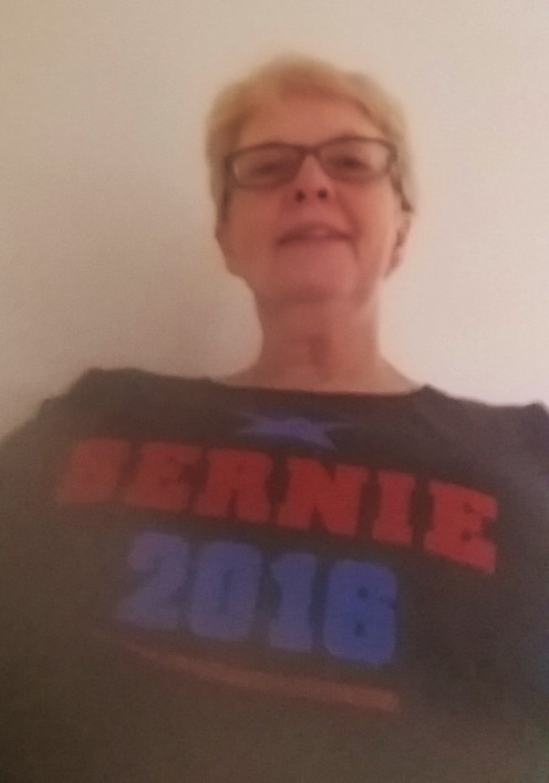 I'm not so good taking selfies but this is me with my favorite Bernie shirt.