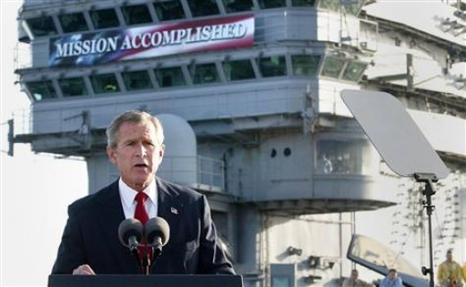 President Bush addressing the nation from the USS Abraham Lincoln on May 1st, 2003.