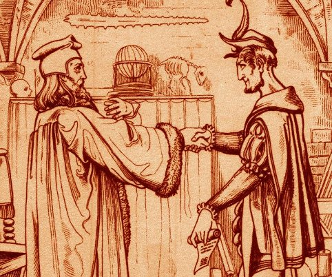 Faust and the demon, Mephitsopheles.