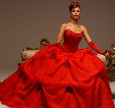 This lovely red rose ball gown is another option for a Valentine's Day wedding.