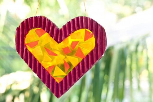 Completed Valentine's Day Heart Shaped Suncatcher - Your Kids Can Make This Easy Craft Idea