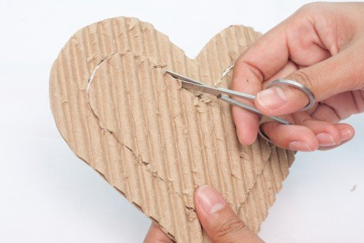 Cut out the smaller heart with your craft scissors