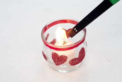 Light the candle when you are ready for some soft, romantic lighting
