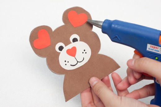 Glue some small hearts in the Teddy Bear's ears