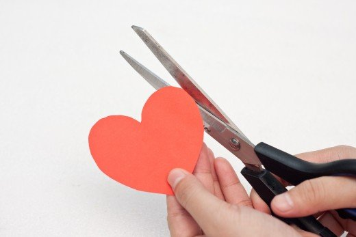 Cut a big heart out using red construction paper