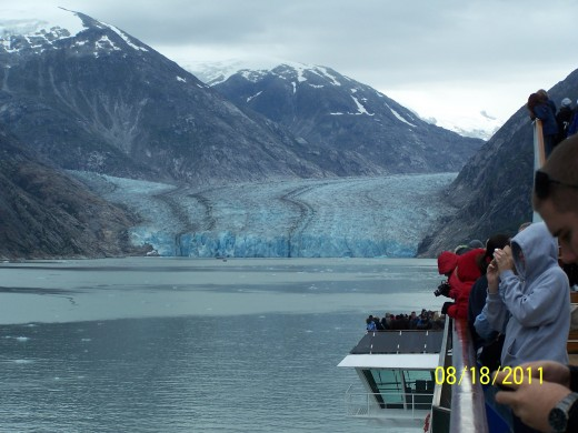 APPROACHING TRACY ARM GLACIER, THIS IS ABOUT AS CLOSE AS WE COULD GET