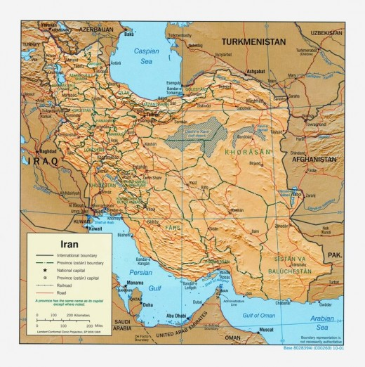 Map Of Iran Showing Area Of Iranian Naval Operations.