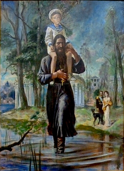 Fate A painting of Tsarevich Alexei Nikolaevich Romanov of Russia on Grigori Rasputin's shoulders.The Tsar and Empress in the background.Painting by St Peterburg's painter,Michael G. Kudrevatykh.1990. Was it Fate they met?