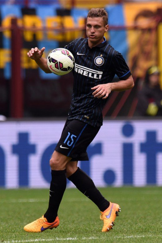 Nemanja Vidic of Internazionale Milano in action during the Serie A match between FC Internazionale Milano and AC Chievo Verona at Stadio Giuseppe Meazza on May 3, 2015 in Milan, Italy.