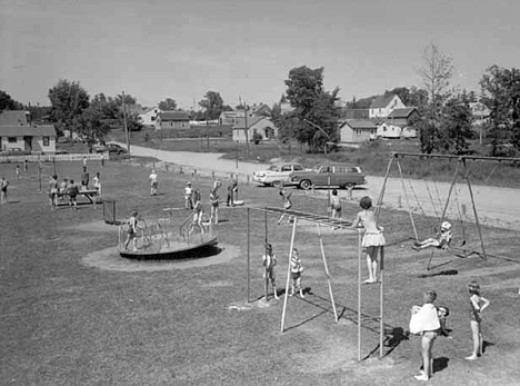 I once lived in the little white house you see just above the swing set.  In-Laws house was at the top of the hill on the street going past.  If not the white one, just past it behind the trees.