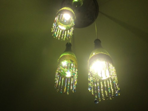 This is How the Wine Bottle Chandelier Would Look From Below..