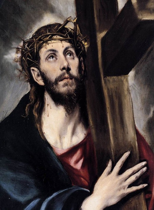 Artist	 El Greco (1541–1614)  Title	 English: Christ Carrying the Cross Description	 detail Date	1580s Medium	oil on canvas Current location	 Metropolitan Museum of Art