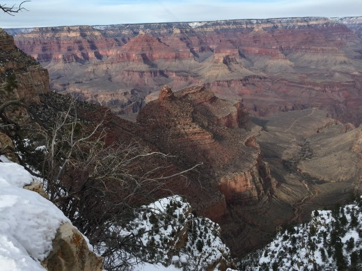 Snow covered edges of the Grand Canyon