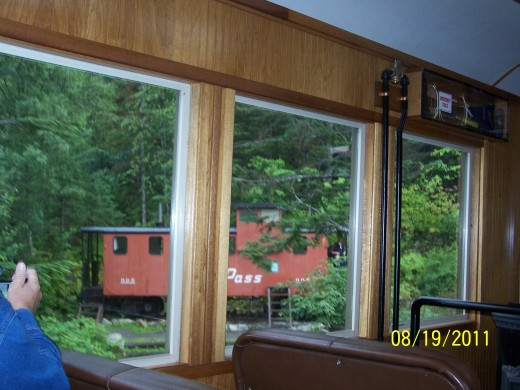 INSIDE THE TRAIN ON THE WAY BACK TO SKAGWAY.