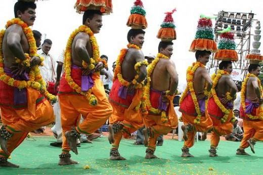Men performing Karakattam, the folk dance of Tamilnadu