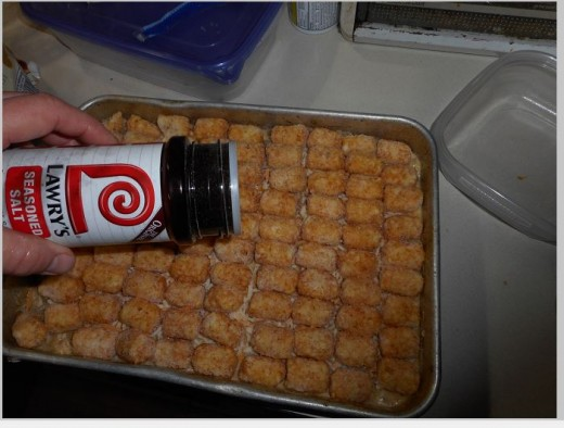 Sprinkle tater tots with Lawry's Seasoned Salt.