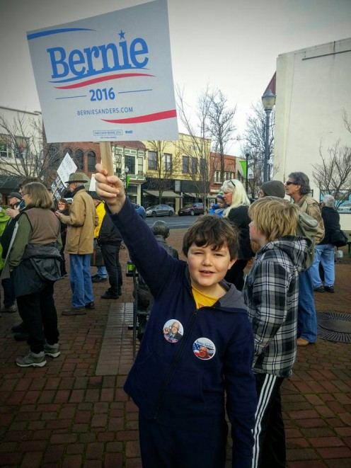 Bernie Sanders stands up for what is right. You can do that too.  Photo used with permission of his parent.