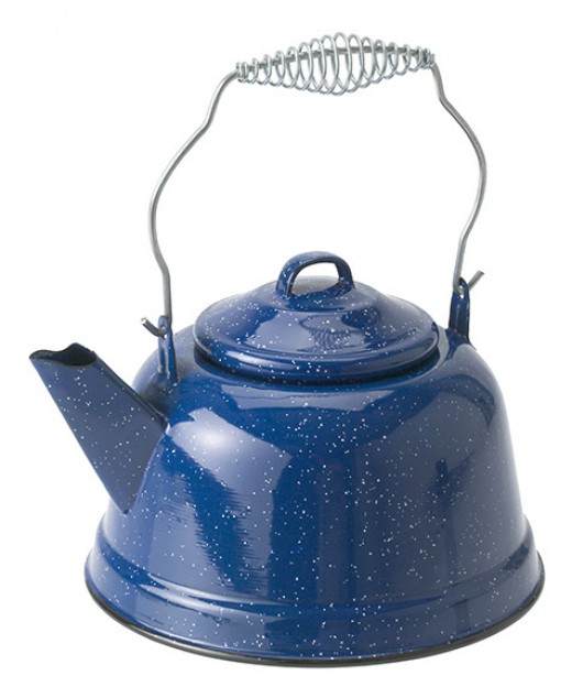 Blue enameled tea kettle