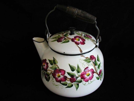 Flowered enameled tea kettle