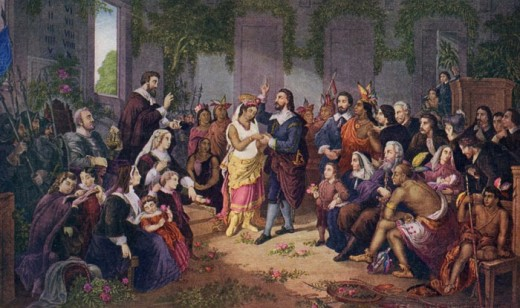 John Rolfe and Pocahontas married in Jamestown - April, 1614