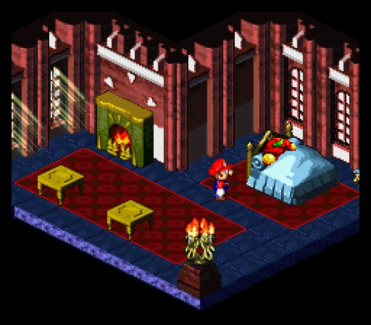 Samus Aran sleeping in Peach's guest room