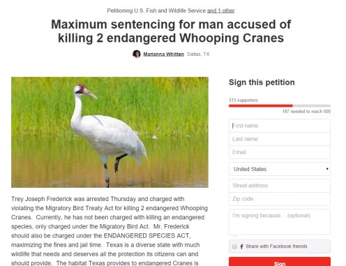 Screen Capture of Petition from Change.org