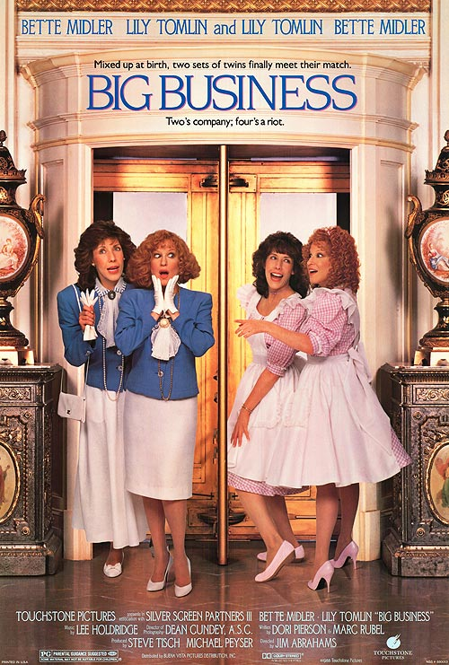 Bette Milder and Lily Tomlin in Big Business, funny movie about twins switched at birth.