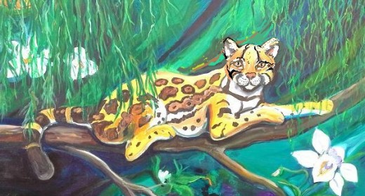 Original painting of young ocelot