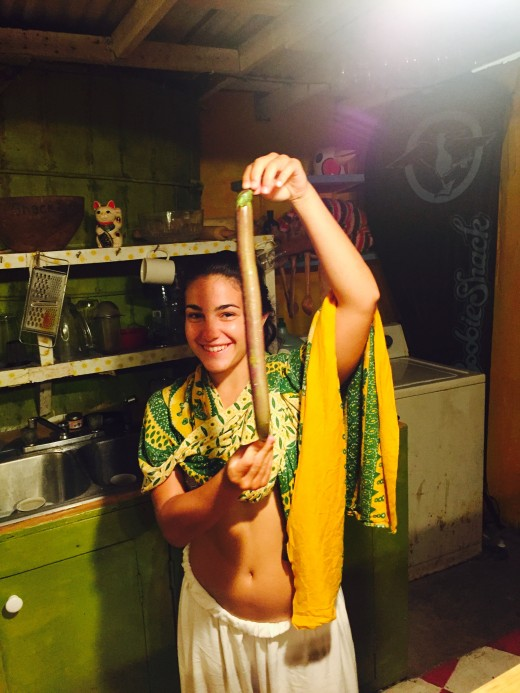 Holding a very abnormally long local eggplant. (This was the best day of my life)
