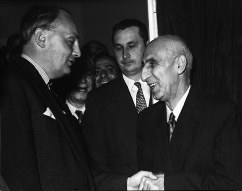 Prime Minister Mohammad Mossadegh of Iran shaking hands with Sir Gladwyn Jebb at the United Nations Security Council in New York City, 1951