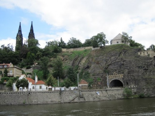 Vyšehrad seen from the Vltava River with Basilica of St. Peter and St. Paul