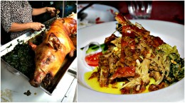 Babi Guling (Roast piglet) : (left picture) Sliced roast pork with rice : (right picture)