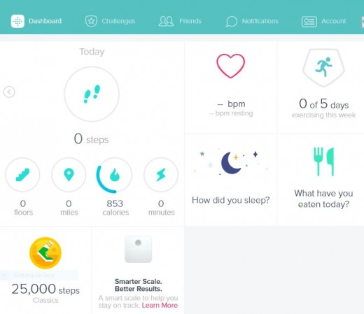 Snipe of the dashboard from the Fitbit app