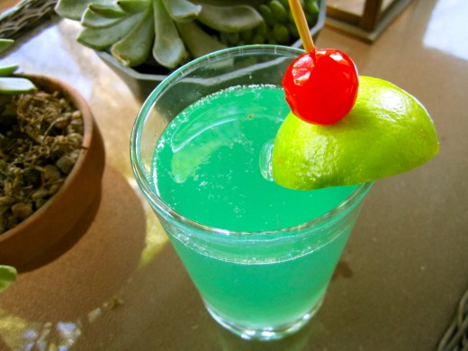 Disneyland's Mint Julep served with a lime and a cherry.